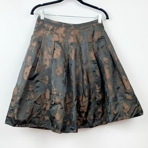 Talbot's Brown Black Floral Party Skirt w Pockets